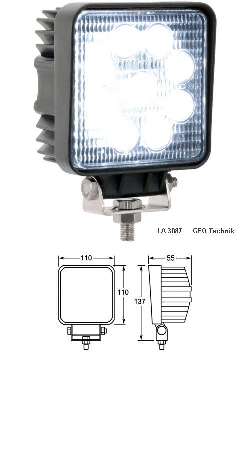 LED Scheinwerfer 12V - 24V IP69K 28W eckig